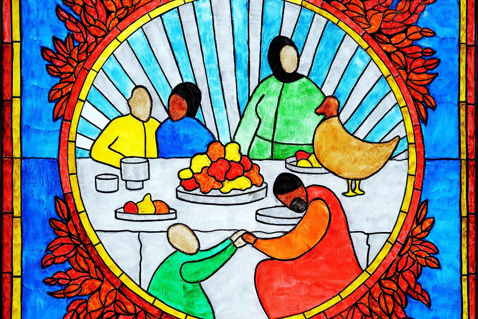 Blue panel detail: family around a table with fruits